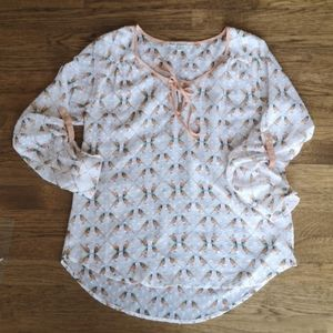 Daniel Rainn Bird Pattern Button Sleeve Blouse